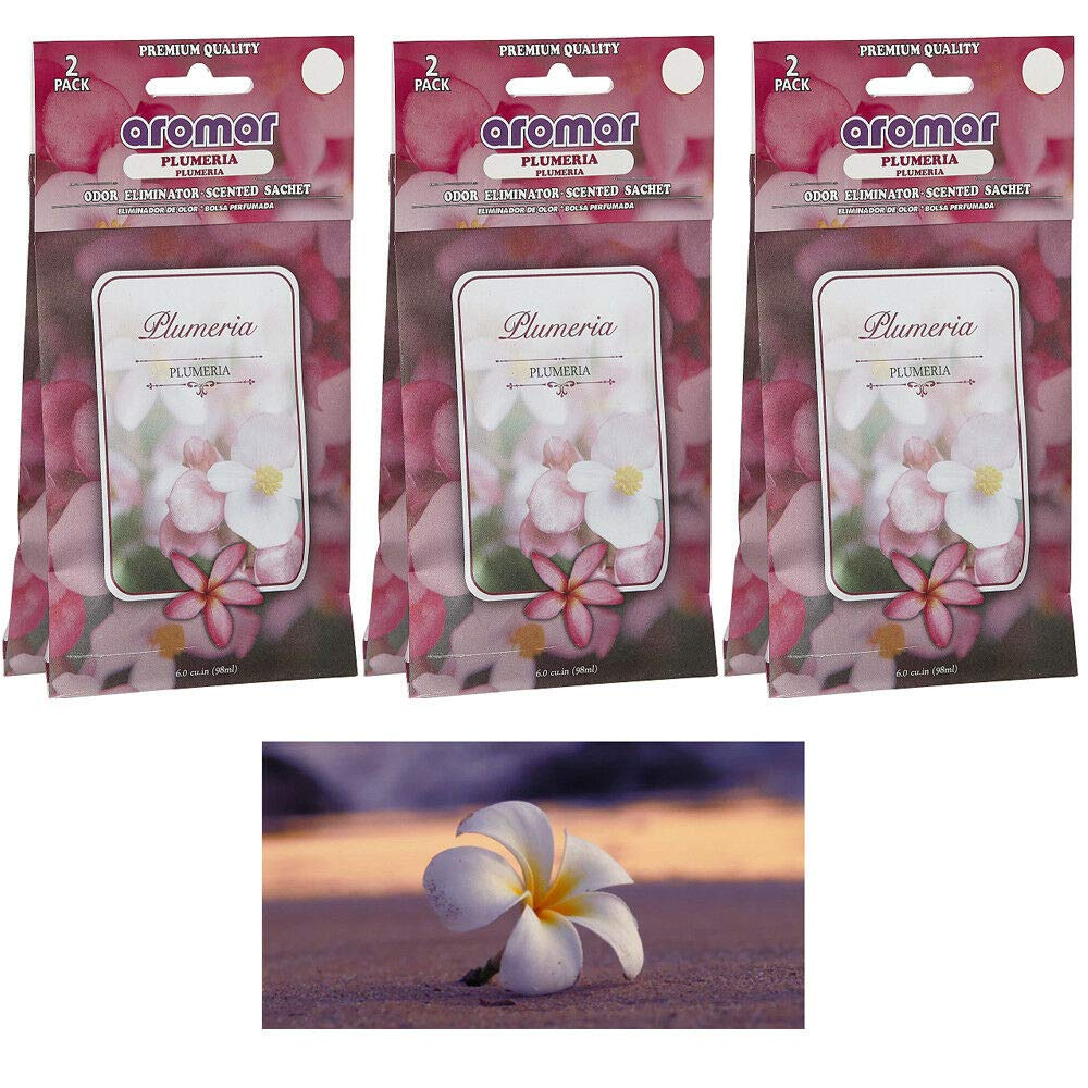 6 Pc Plumeria Flower Scented Sachet Drawer Bags Large Fresh Scent Air Freshener by National Limited Shop (Image #1)