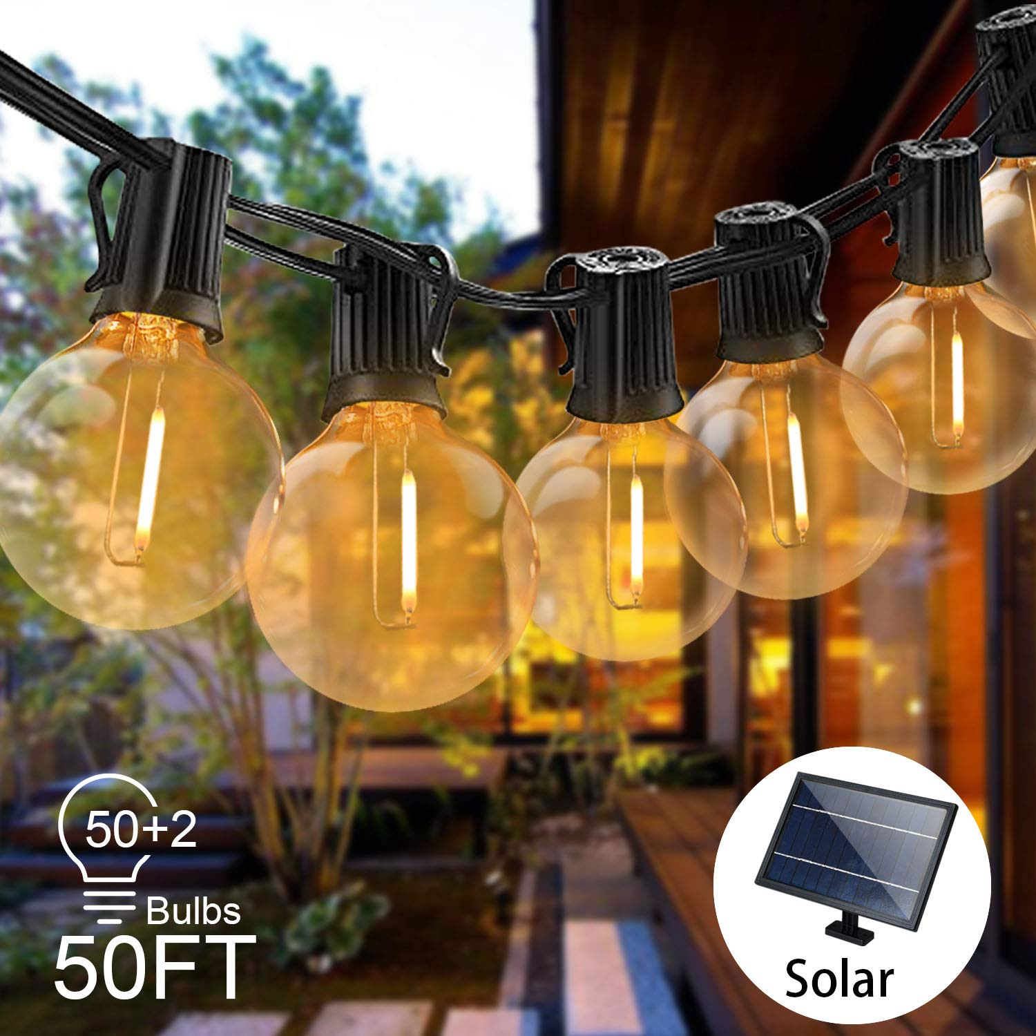 Svater Solar String Lights 50FT Waterproof LED Indoor/Outdoor Patio Lights with 52 Bulbs Garden Lights for Party Porch Cafe by Svater