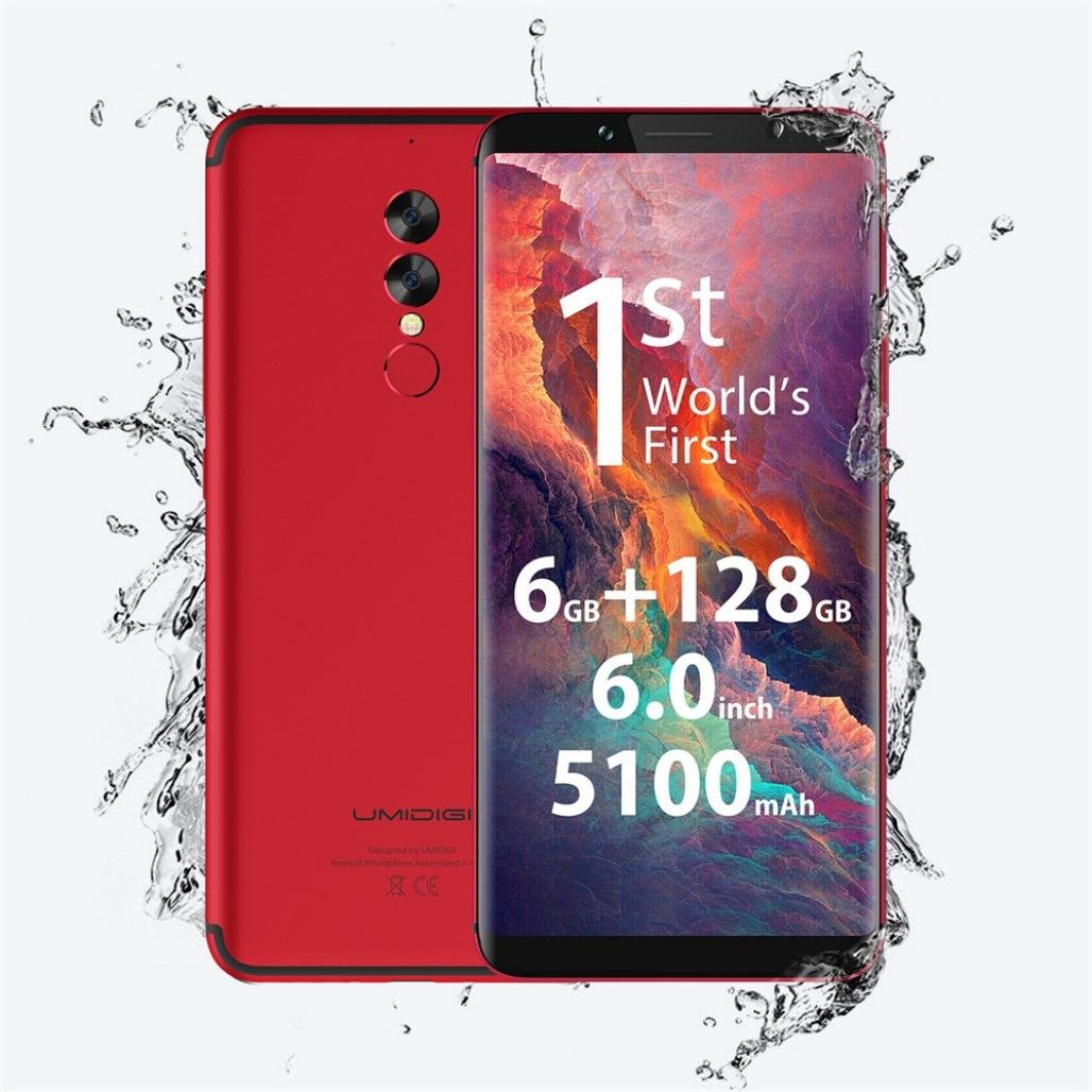 Cell Phones, 6.0' Unlocked 4G Smartphone - Android 7.0-6GB RAM + 128GB ROM - Dual Camera&Sim Card, 5100mAh UMIDIGI S2 (Red)