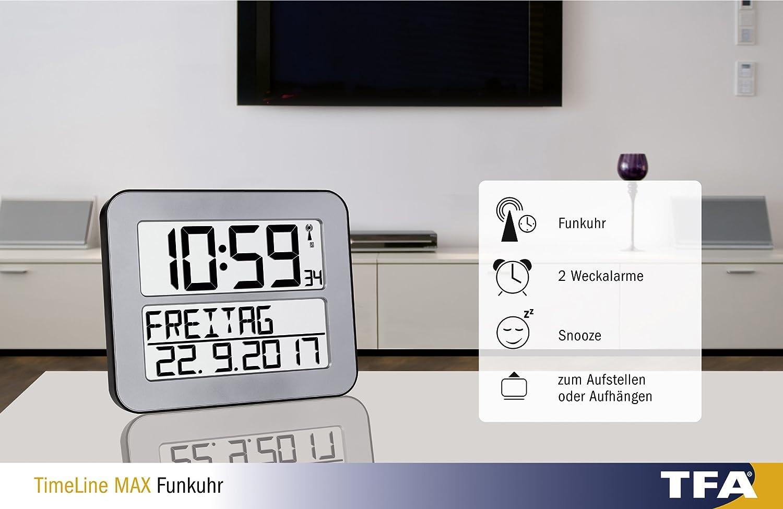 TFA Dostmann 60.4512 TimeLine Max radio Reloj de pared digital, plata con baterías: Amazon.es: Hogar