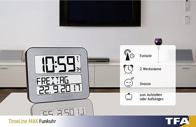 TFA Dostmann 60.4512.01 Timeline MAX - Reloj controlado por Radio, Blanco