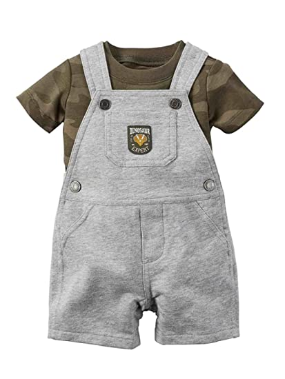 0c9cdc0db9c4 Amazon.com  Carter s Infant Boys 2 PC Dinosaur Expert Grey Shortall ...