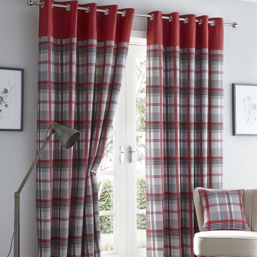 Ruby Red Curtains Balmoral Tartan Check Lined Eyelet Ring Top Curtains Pair