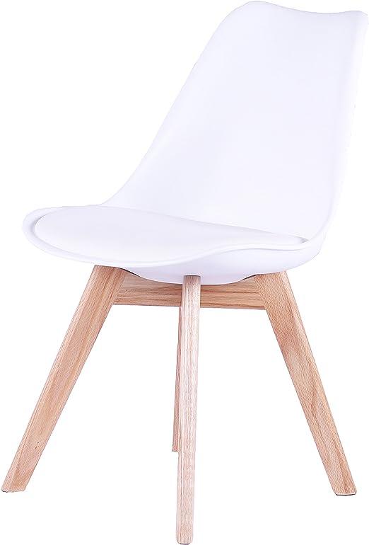 SAM® Design Schalenstuhl Espo, Weiß, mit integriertem Sitzkissen, Massive Beine aus Eiche, ergonomisch geformte Sitzschale, bequemer Esszimmer Stuhl