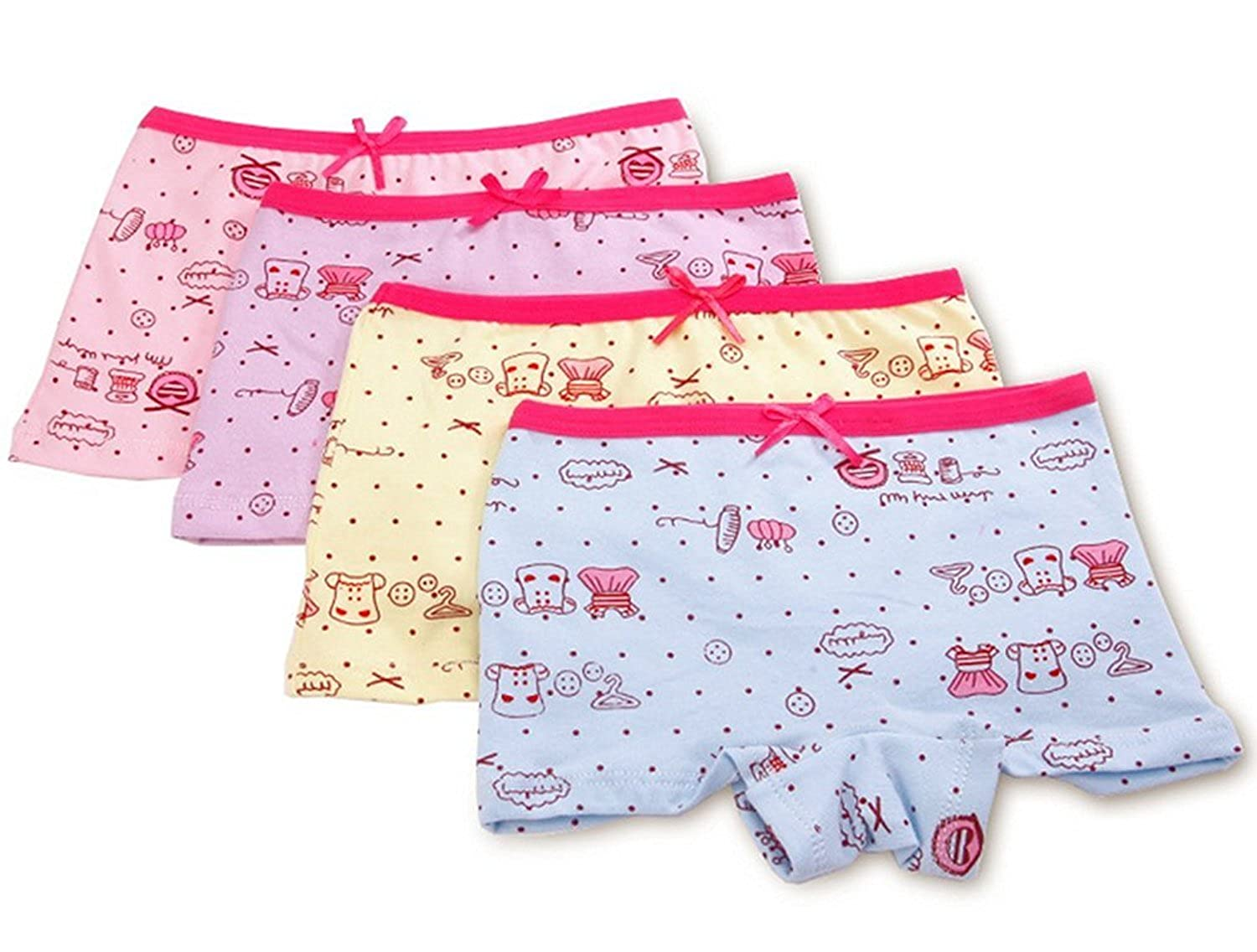 DVANIS Little Girls 4 Packs Model Cotton Underwear Briefs Hipster Knickers 2-6 Year