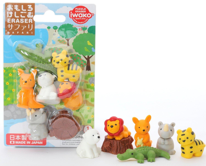 (10 Blister Packs) Iwako Japanese Puzzle Take Apart Erasers Safari Animals Set of 7