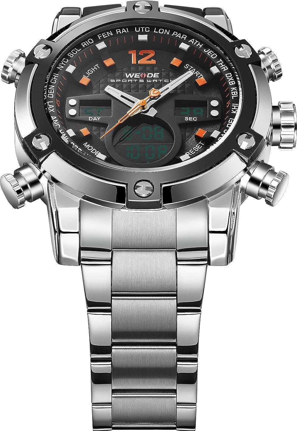 Amazon.com: Weide Mens Fashion Sport Military LED Analog Digital Stainless Steel Quartz Wrist Watch (Orange): Watches