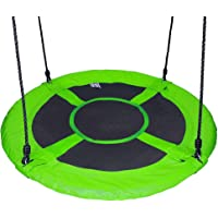 """Gaorui 100cm 40"""" Tree Swing Spinner Kids Swing Seat Saucer Nest Swing Round Ring Large Tire Swing – 200 KG Weight Capacity, Fully Assembled, Easy to Install Green"""