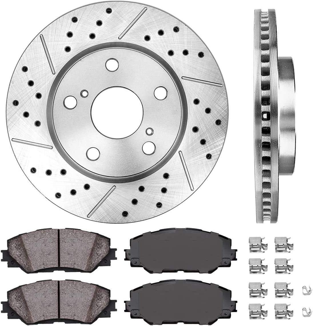 4 Ceramic Pads Fits:- RAV4 HS250h 5lug High-End Rear Kit 2 OEM Replacement Disc Brake Rotors