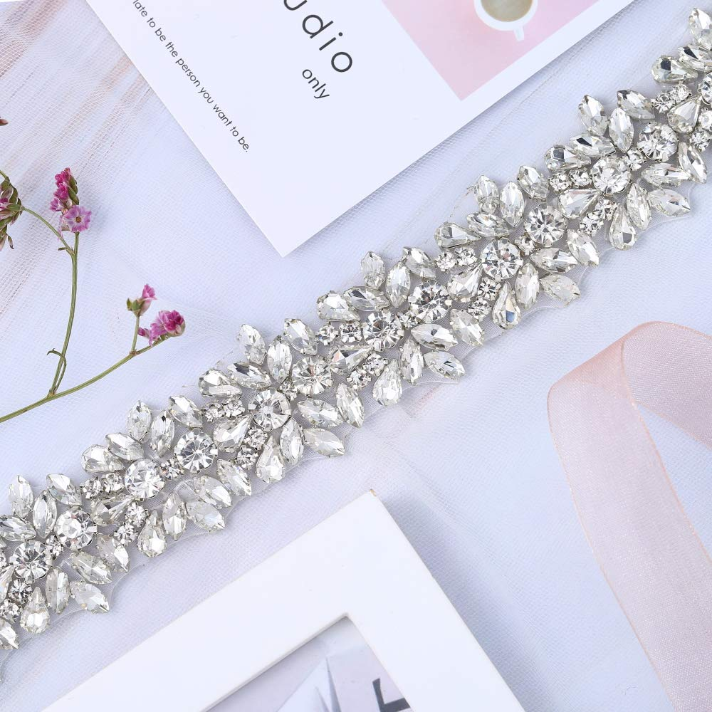 XINFANGXIU 1 Yard Bridal Wedding Dress Sash Belt Applique with Crystals Rhinestones for Women Gown Evening Prom Clothes Handcrafted Sparkle Thin Sewn or Hot Fix by XINFANGXIU