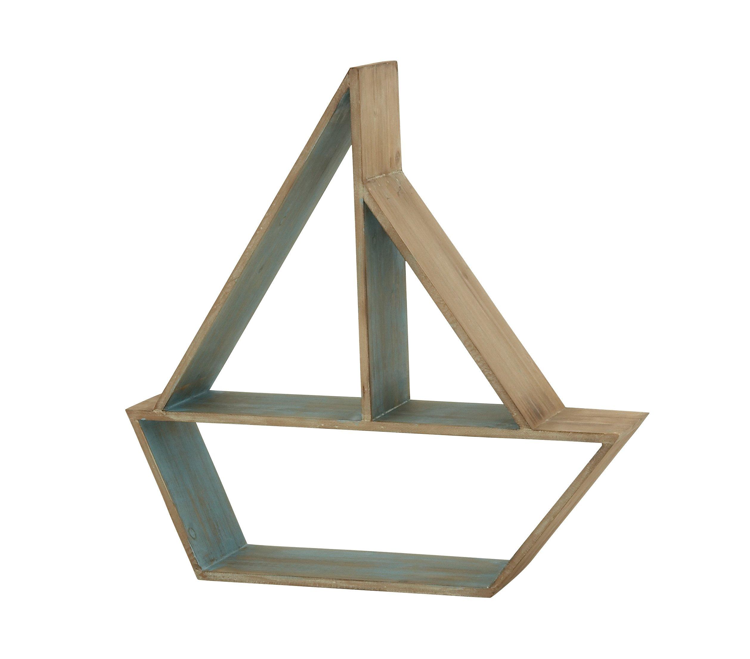 Deco 79 97728 Wood Table Boat Shelf, 24'' x 24''
