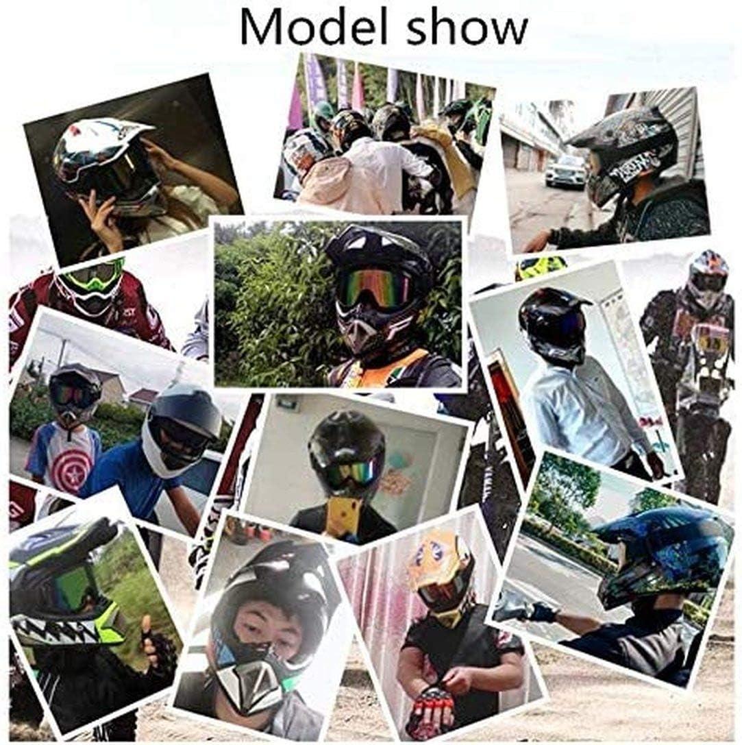 Noir jaune,S Casques de motocross casques de VTT casques de protection d/équitation certifi/és D.O.T casques de moto ATV y compris gants et masques d/équitation gratuits 55-56cm