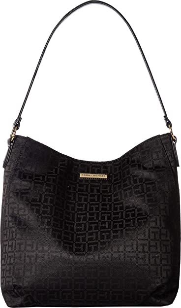 c260946b1d Amazon.com: Tommy Hilfiger Women's Th Grommet II - Hobo - Monogram Jacquard  Black Tonal One Size: Shoes