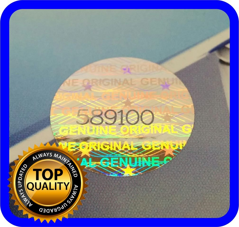 180 Etiquetas Seguridad Numeradas con Holograma (Diam 1.5cm)