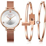 MAMONA Women's Mesh Band Watch Rose Gold Stainless Steel Adjustable Strap L3883RGGT