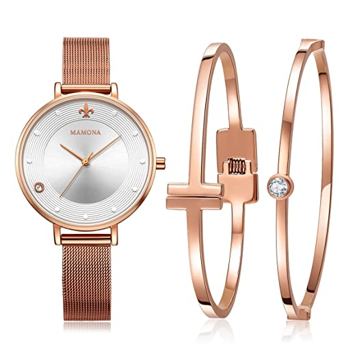 b6800d8d69d4 MAMONA Women s Mesh Band Watch Rose Gold Stainless Steel Adjustable Strap  L3883RGGT