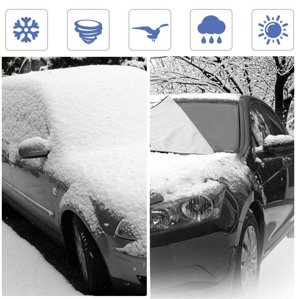 Car Windshield Snow Cover AWASBO Magnetic Thickened Frost Guard Windshield Ice Cover Fireproof 61.8x 49.6 Fits Most Cars Waterproof Flame Retardant Fabric Suitable for Winter and Summer