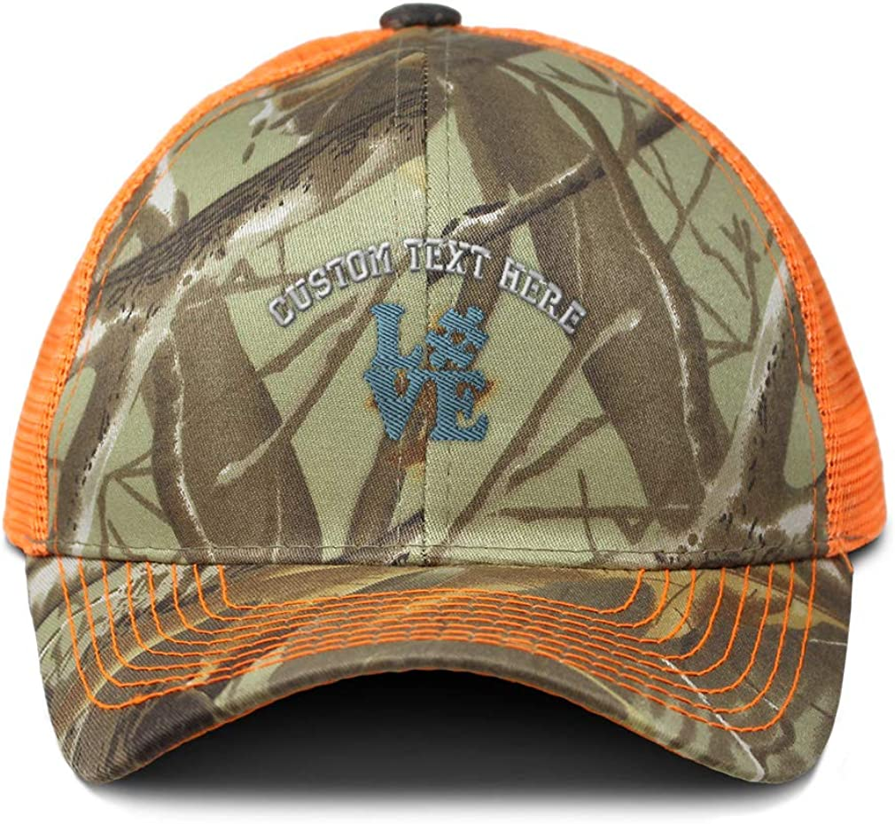 Custom Camo Mesh Trucker Hat Blue Love Autism Puzzle Piece Embroidery One Size