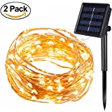 [2 Pack] BOLWEO Solar Powered String Lights,Solar Fairy Lights,Warm White,16.4Ft 50LEDS,Waterproof Copper Wire Lighting for Indoor Outdoor Christmas Tree Halloween Home Garden Decoration