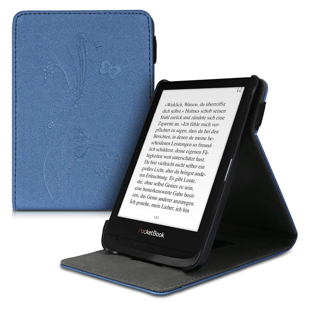 Case Flip Cuero sint/ético de Nobuck Carcasa con Tapa Vertical y Soporte para e-Book kwmobile Funda para Pocketbook Touch Lux 4//Basic Lux 2//Touch HD 3