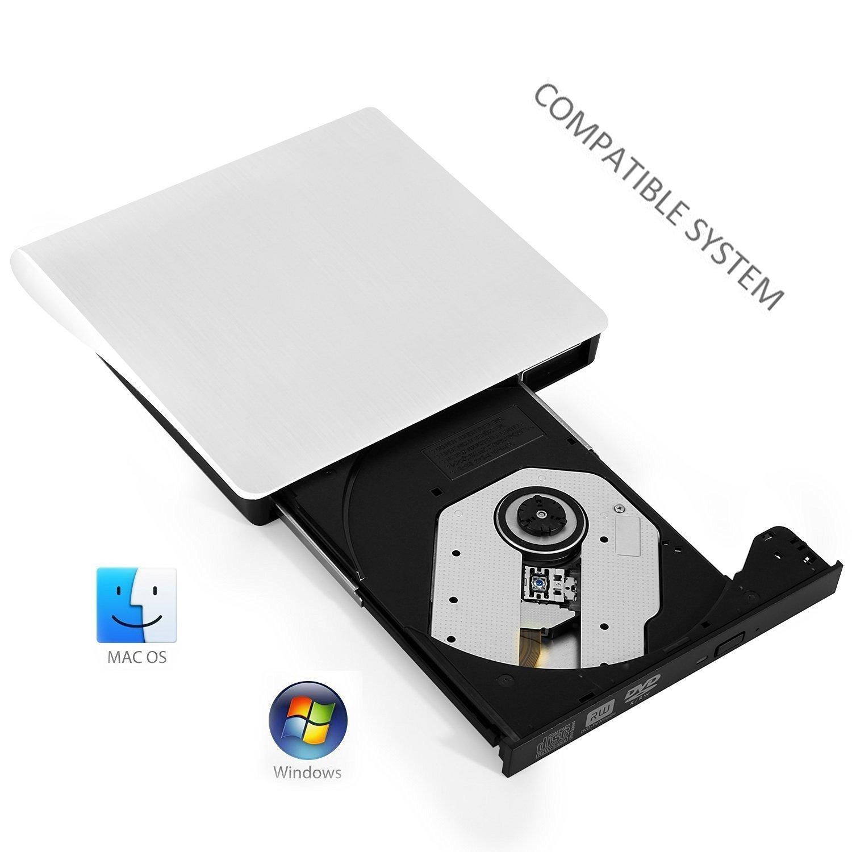 Elephant XuUSB 3.0 External CD/DVD-RW Burner Writer Player Hard Drive External ODD &HDD Device for Apple Macbook, Macbook Pro, Macbook Air or other Laptop/Desktops White