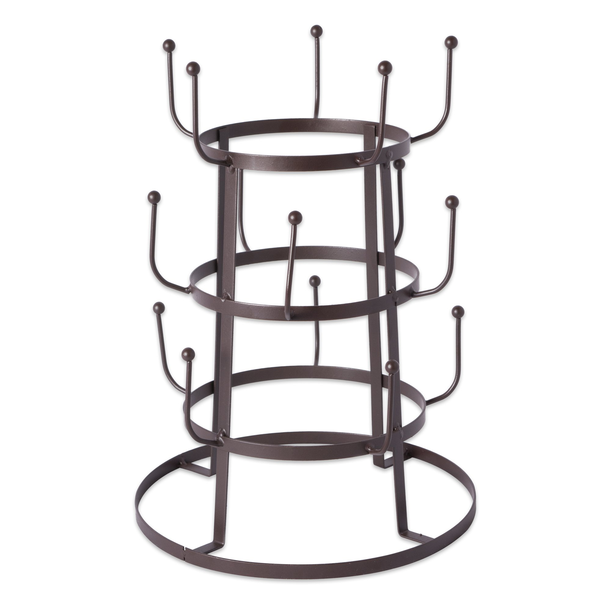 Home Traditions 3 Tier Countertop or Pantry Vintage Metal Wire Tree Stand for Coffee Mugs, Glasses, and Cups, 15 Mug Capacity, Rustic Bronze by DII