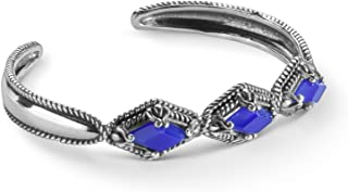 product image for Carolyn Pollack Sterling Silver Blue Agate Gemstone Kite-Set Cuff Bracelet Size S, M or L
