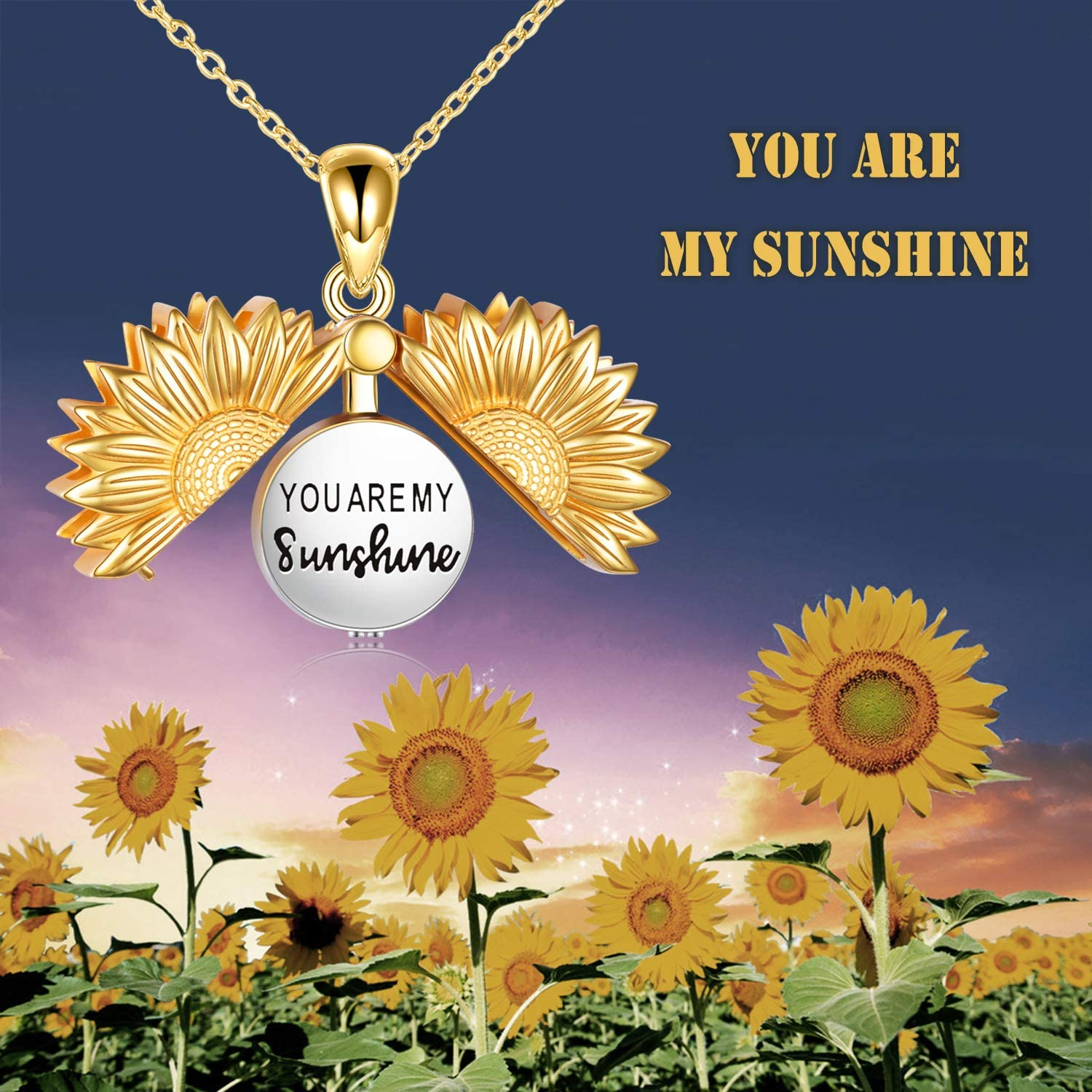 URONE Personalized Sterling Silver Sunflower Urn Necklace for Ashes Custom Engraving Cremation Jewelry for Ashes of Loved Ones Keepsake