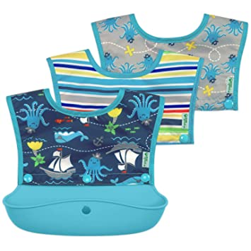 Baby Bib Apron Food Catcher Waterproof Toddler Beginner Feeding Eat Easy Clean