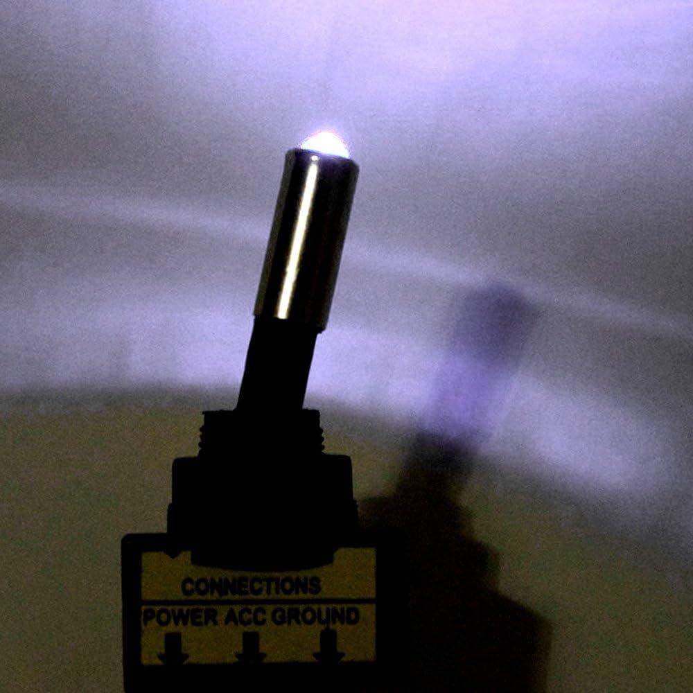 HOUTBY trade; 10Stk KFZ Kippschalter Schalter Wippschalter 12V Wei/ß LED Licht Lampe Beleuchtet 3-Polig
