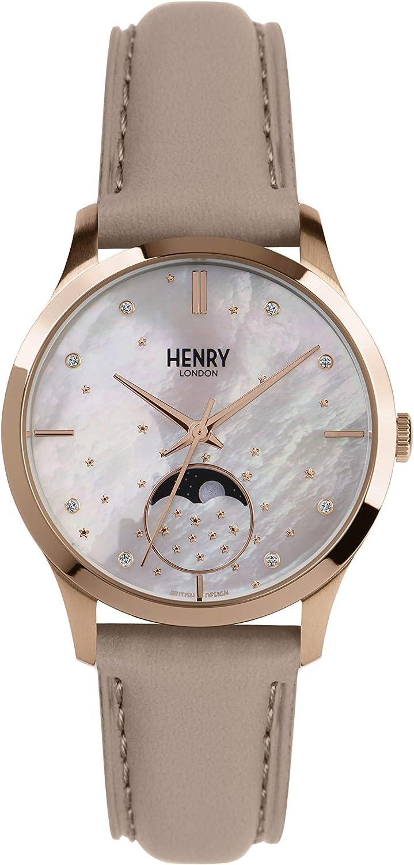 Henry London Reloj Fase Lunar para Unisex Adultos de Cuarzo con ...