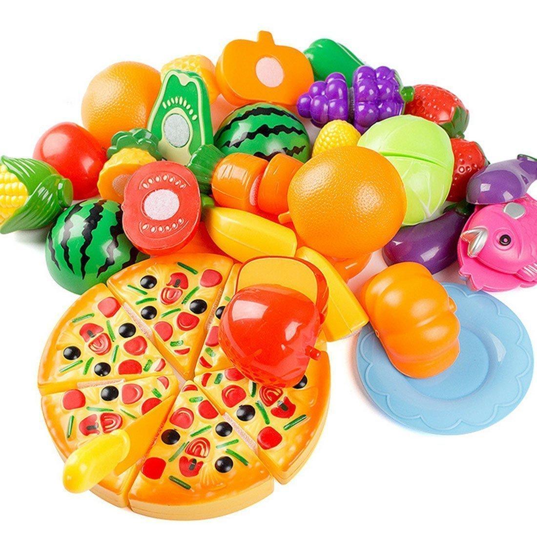Finer Shop 24pcs Plastikfrucht-Gemüse-Küche Cutting Toy Pretend Play Kinder-Rollenspiele Küchenspielzeug