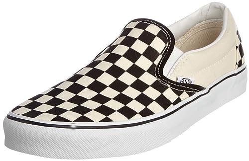 5b1b8e57fe2 Vans Classic Blanco Negro Check Canvas Unisex Slip on Zapatos  Amazon.es   Zapatos y complementos
