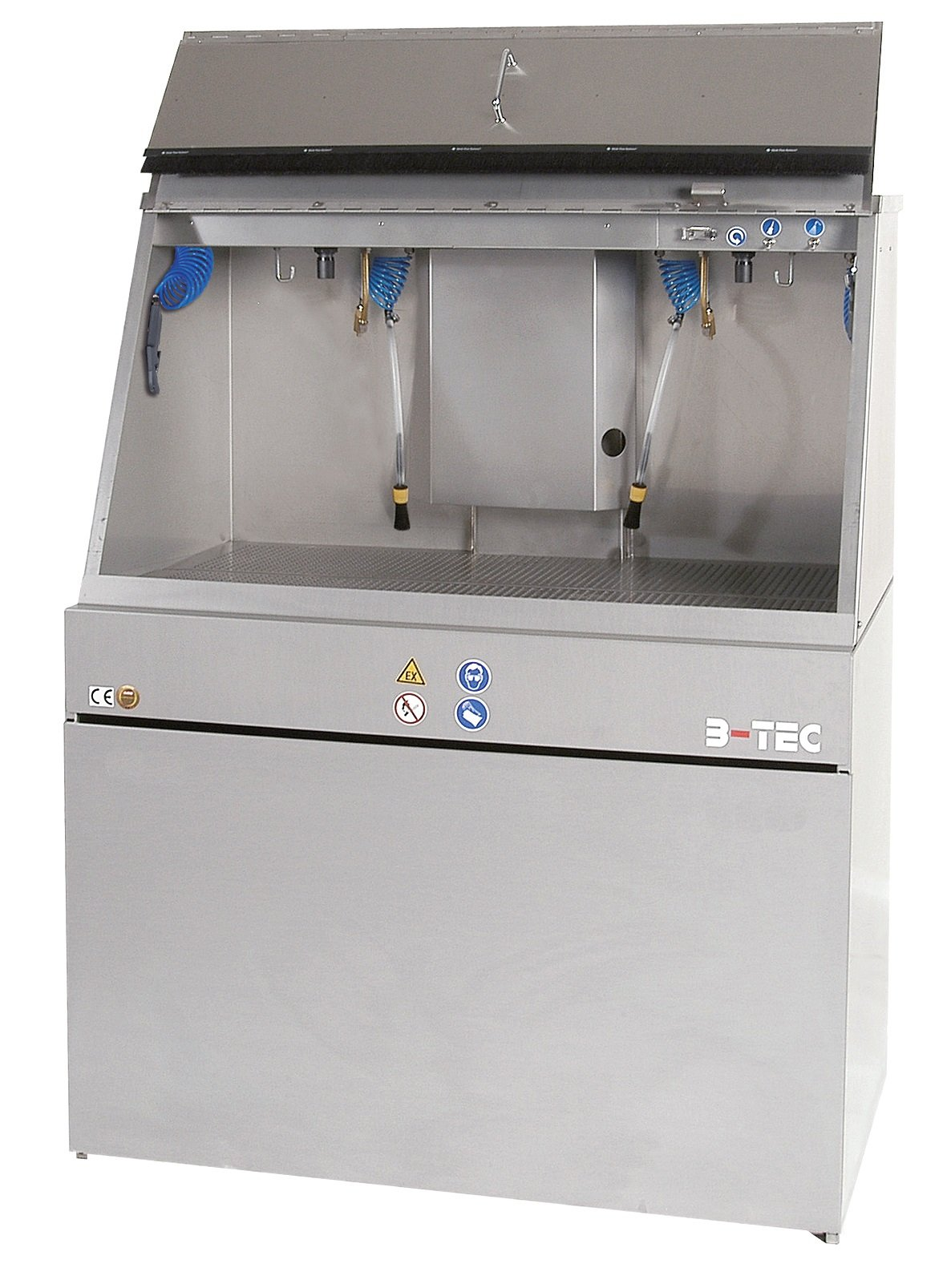 B-TEC Systems M-1200-2 Stainless Steel Manual Large Capacity Cabinet Spray Gun Washer with 2 Operator Options and F-1300 Flap, 47'' Length x 27-1/2'' Width x 70'' Height,for Solvent or Water