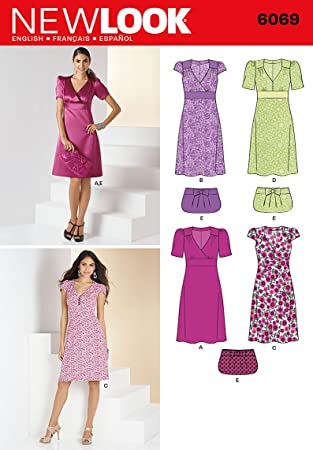 New Look Sewing Pattern 6069 Misses Dresses, Size-A by Simplicity ...