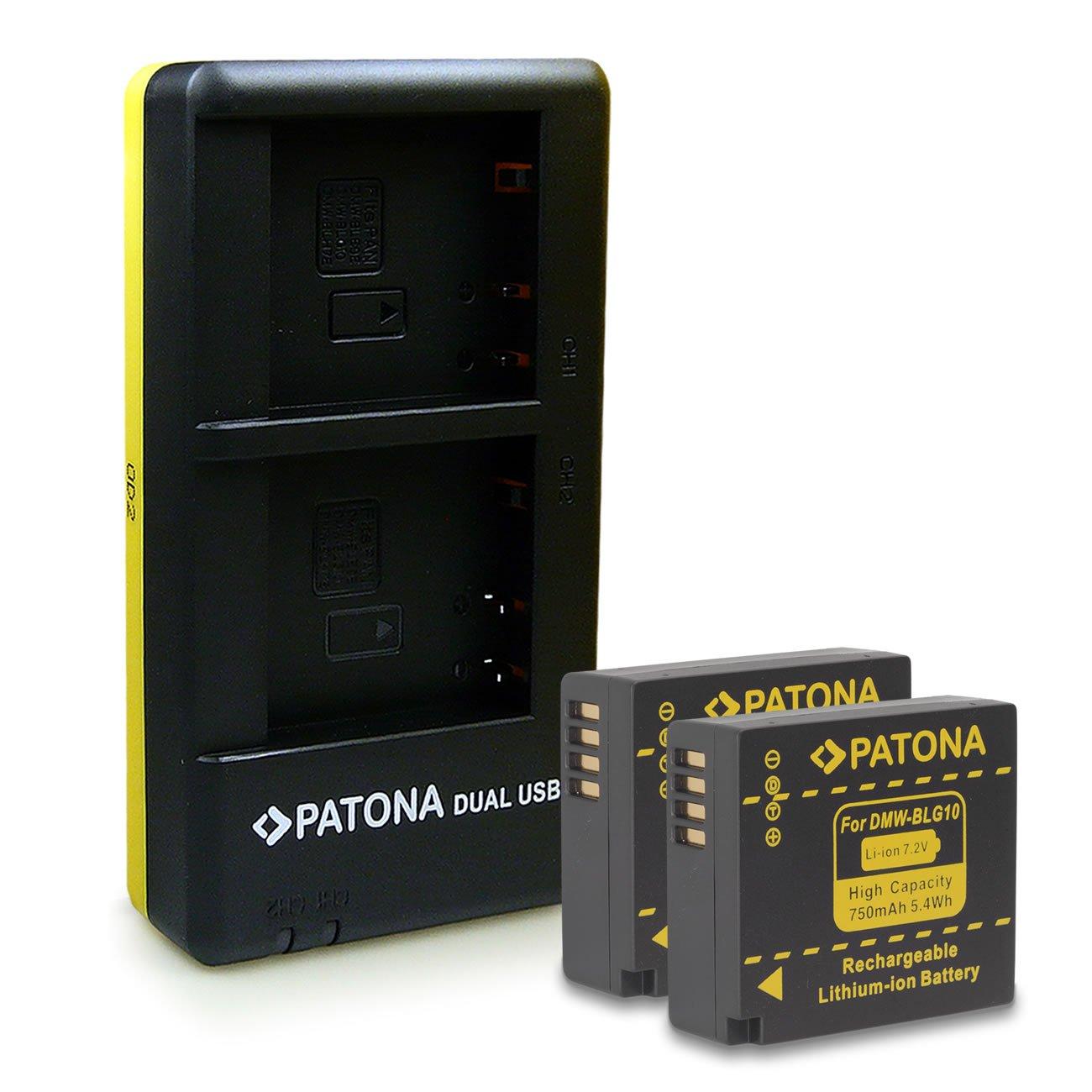 PATONA Dual Cargador y 2x Bateria DMW-BLG10 Para Panasonic Lumix DMC-GF6 GX7 LX100