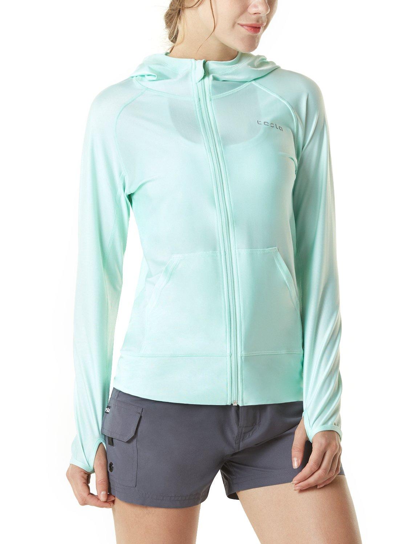 TSLA Women's UPF 50+ Full & Half Zip Front Long Sleeve Top Rashguard Swimsuit, Sun Block Zip Hoodie(fsz02) - Mint, Large by TSLA