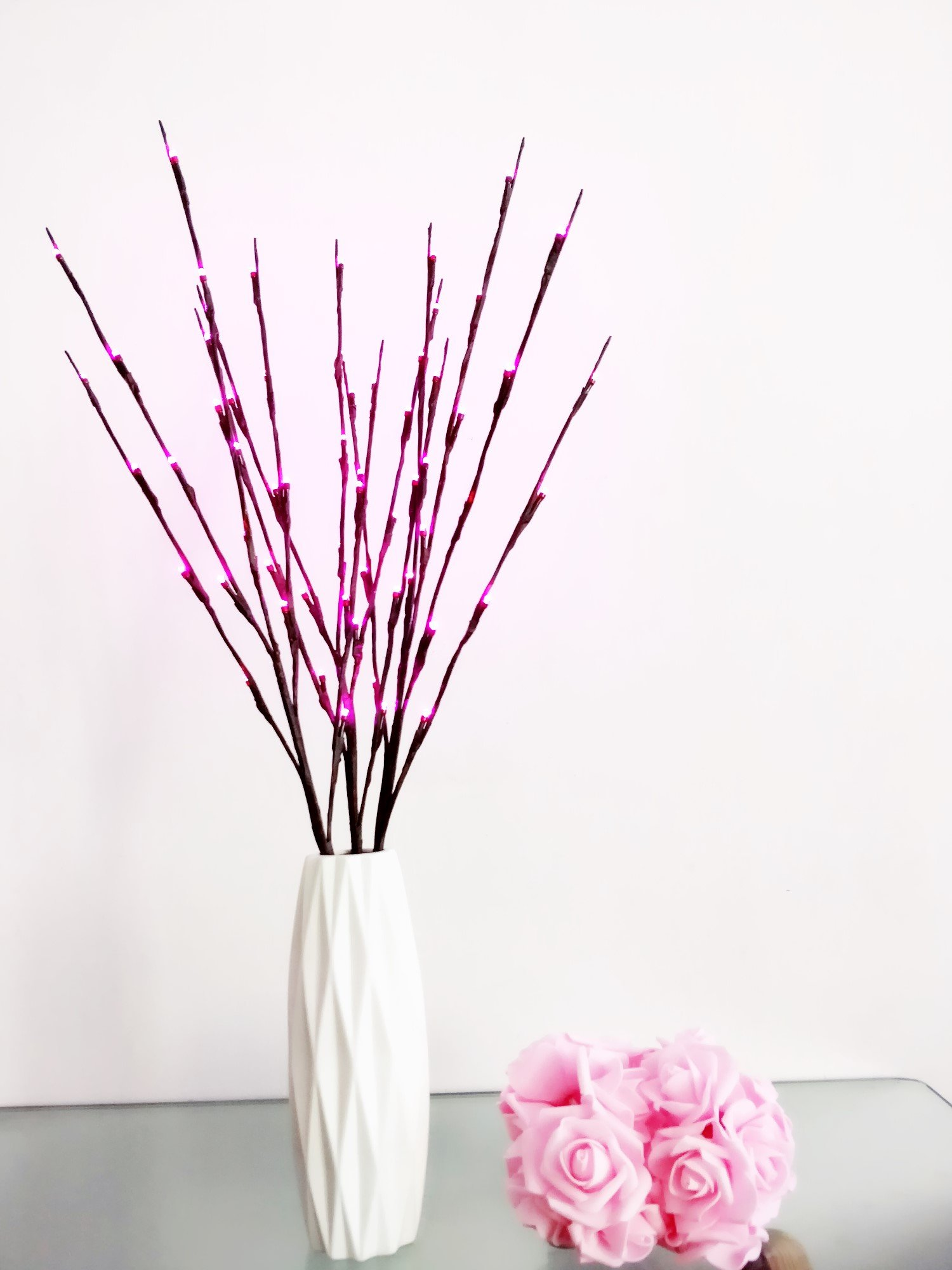 Fantasee 3 Pack 76cm Branch Twig Light LED Tree Branches Light Flexible Branch Decoration Light for Indoor Shop Windows Vase Table Living Room, 4 Colors Available (3 Pack, Pink)