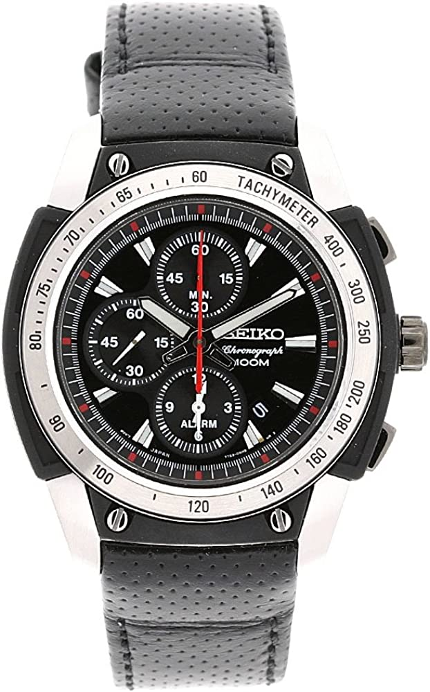 Seiko Men s SNAD47P2 Stainless Steel Case Black Leather Strap Alarm Chronograph Watch