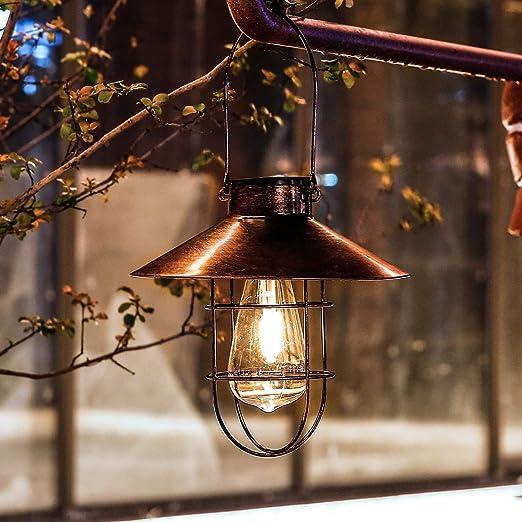 Farol solar para colgar al aire libre, resistente al agua, lámpara solar de jardín con sombrero decorativo para patio, patio, patio, patio, paisaje, foco de filamento (bronce): Amazon.es: Iluminación