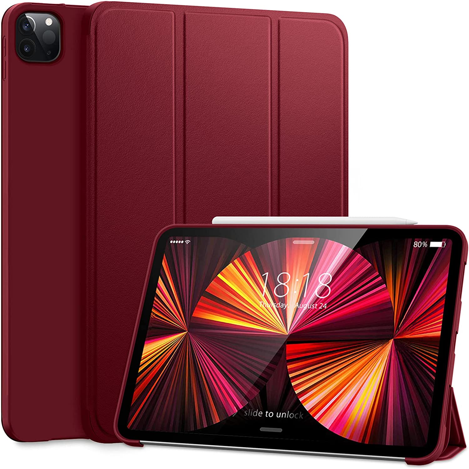 DTTO Case for iPad Pro 11 Inch 2nd/3rd Generation 2021/2020/2018,Ultra Lightweight Smart Trifold Stand with TPU Soft Back Cover,Also Fit iPad Air 4 [Auto Sleep/Wake], Wine Red