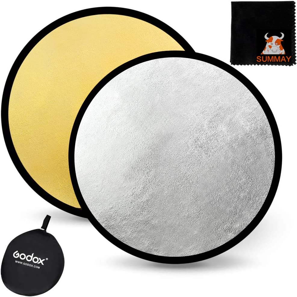 Gold GODOX 24 60cm 2-in-1 Collapsible Round Portable Disc Light Reflector with Bag for Studio and Photography Silver