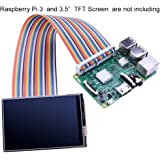 "kuman Breadboard Jumper Wires 40pin Male to Female Ribbon GPIO Cable for Connection Raspberry Pi 3 2 Model B B+ w/ 3.5"" 5 inch Touch TFT Screen LCD display K70"