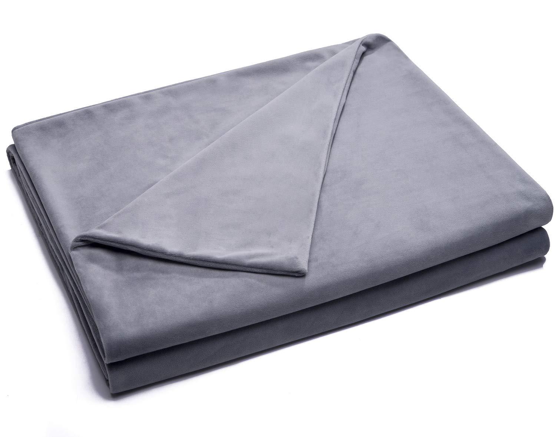 Kpblis Removable Duvet Cover for Weighted Blanket 60''x80'', Velvet Duvet Cover- JUST Cover, Grey