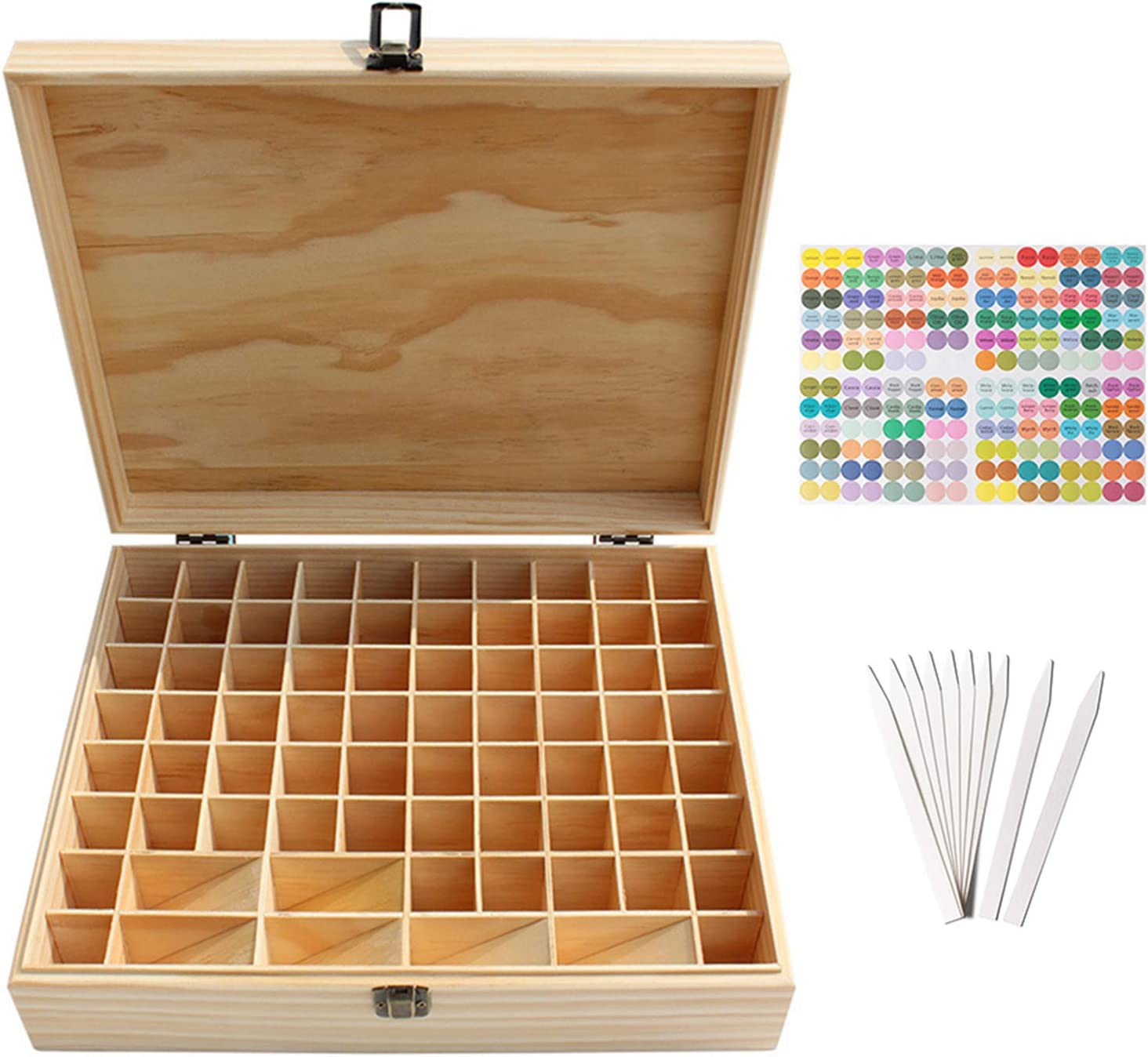 Pure Vie Wooden Essential Oil Storage Box Home Fragrance Carrier Case, Holds 74 Bottle (Fits 5-20ml) - Aromatherapy Organizer Makeup Nail Polish Perfume Container - Keep Your Oil Safe & Space Saver