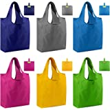 Reusable Shopping Bags Foldable Grocery Totes with Pouch 6 Pack Ripstop 50LBS Large Machine Washable Gift Bags Waterproof Eco-Friendly Sturdy Lightweight Royal Red Green Yellow Teal Gray