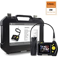 [Slim 5.5mm Dia.]SHEKAR Digital Inspection Camera with 3M Rigid Endoscope Camera, 2.7 inch Color Screen, Function of Zoom, Waterproof Handheld Borescope+Tool Box