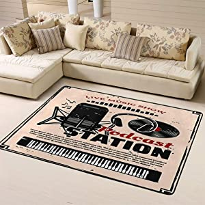 Randell Non Slip Doormat Live Music Show Retro Poster Podcast Online Radio Station Design for Living Room Bedroom 63 x 48 in