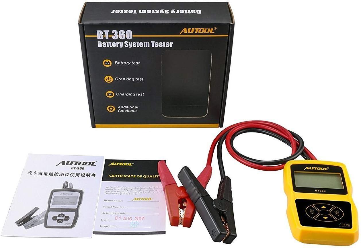 AUTOOL BT360 CCA 100-2400 Batterie Tester Auto Cranking und Charging System Analyzer Scan Tool mit Drucker f/ür schwere Lkw Boote Autos Motorr/äder