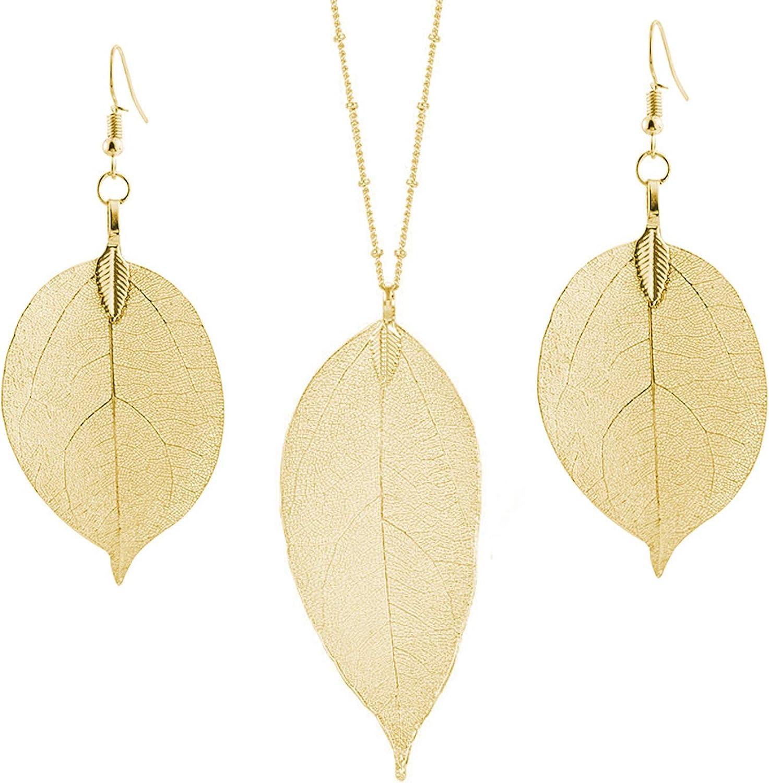 Latest Beautiful Metal Crafted Leaf Twist Necklace Earrings Full Set Nickel Free